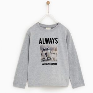 Zara girls gray shirt with print and text